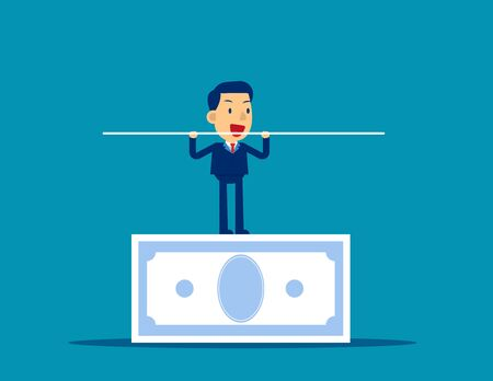 Man balancing on the banknote. Concept business financial vector illustration. Balance, Investment, Income.