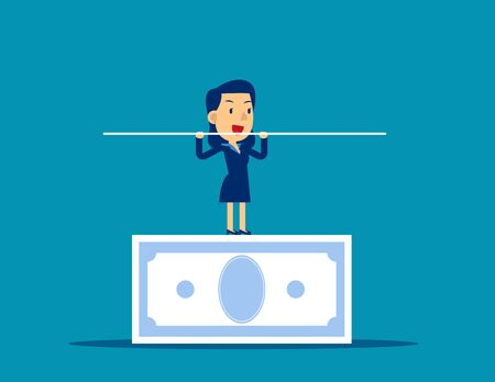 Woman balancing on the banknote. Concept business financial vector illustration. Balance, Investment, Income.