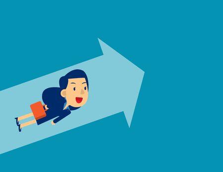 Flying to upward. Concept business direction vector illustration, Achievement, Kid flat cartoon character style design. Ilustracja