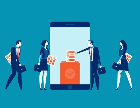 Online smartphone screen voting box and voters making decisions. Concept online voting vector illustration, Government rules and public projects