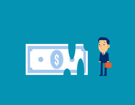 Recession Money. Concept business finance and economy. Kid business cartoon character style design.
