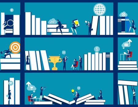 Business people and bookshelves. Concept business education vector illustration, Cooperation, Office, Lifestyle.