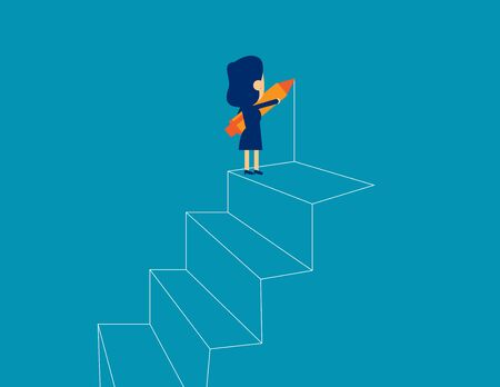 Businesswoman drawing outline of steps. Concept business strategy vector illustration, Kid business, Flat business cartoon design