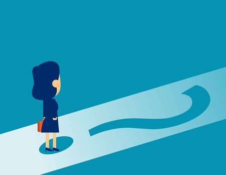 Businesswoman standing on question mark. Concept business confused employee vector illustration, Business Question, Marketing Analysis, Flat kid business cartoon design.