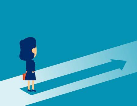 Businesswoman standing on arrow symbol. Concept business Direction marketing vector illustration, Business Growth, Marketing Analysis, Flat kid business cartoon design. Ilustração