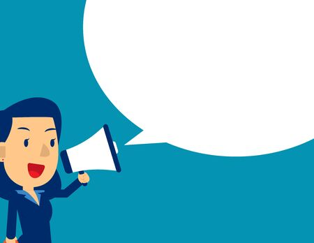 Cute man shouting in megaphone. Concept business message vector illustration, Kid business, Flat kid business cartoon design