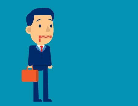 Businessman zippered mouth. Concept business sad vector illustration. Flat business cartoon character design.