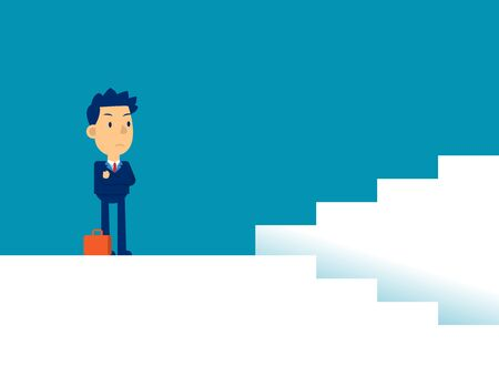 Man with decisions. Concept business direction vector illustration, Strategy, Flat kid business cartoon.