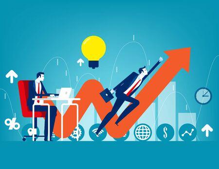 Entrepreneur startup. Concept buisness vector illustration, Direction, Growth, Office teamwork.