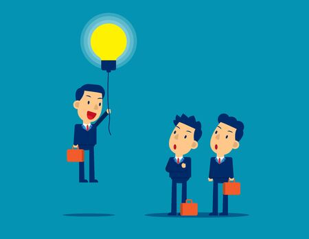 Flying out from the crowd by light bulb of ideas. Concept kid business successful vector illustration, Business idea, Advancement,