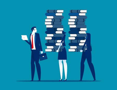Gente de negocios y aprendizaje de datos diferentes. Ilustración de vector de aprendizaje empresarial concepto, conocimiento, educación, escuela o universidad. Ilustración de vector
