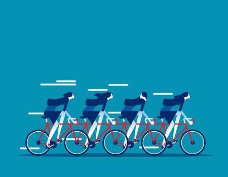 Business team group riding on tandem bike together. Concept business vector illustration, Sport race, Teamwork, Flat cartoon business style.