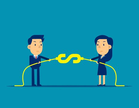 Business finance competition. Concept business financial vector illustration, Person pull the rope, Kid business cartoon design.