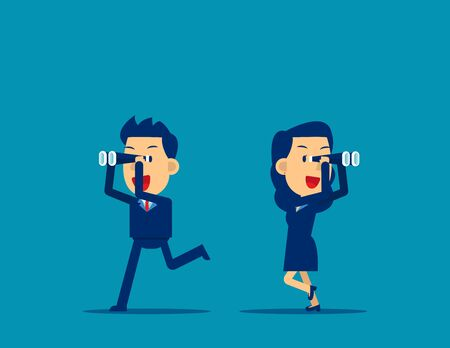 Successful business with telescope. Concept business vision vector, Kid business, Competitor, Flat business cartoon Vectores