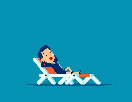 Hombre de oficina relajante. Ilustración de vector de vacaciones de negocios de concepto, negocio de niños, colección de color azul, diseño de estilo de dibujos animados planos, aislar