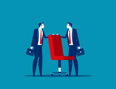 Business people fighting over for job chair. Concept business economy vector illustration. Struggle, Challenge. Ilustração