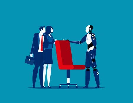 Business people and robot fighting over for job chair. Concept business economy vector illustration. Struggle, Challenge.