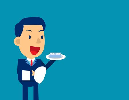 Business finance service. Concept business finance and economy vector, Kid business character, Order 일러스트