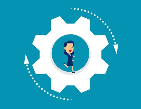 Business person running inside wheel. Concept business vector illustration, Kid business, Flat character design