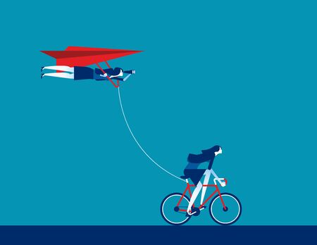 Teamwork to successful. Concept business team vector illustration, bicycle, Paper plane,, Direction.