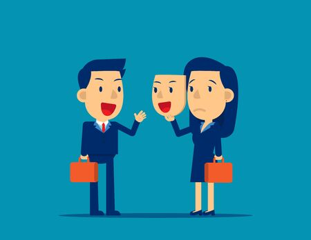 Person holding happy mask. Concept business colleagues vector illustration, Flat cartoon style design, Unhappy