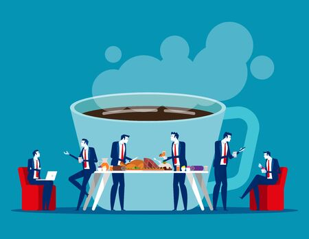 Business office people on coffee break. Concept business relax vector illustration, Office lunch time