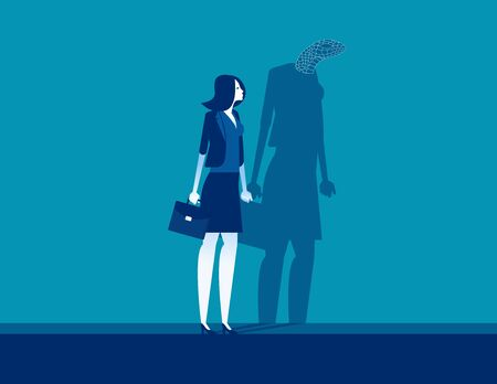 Businesswoman with shadow reflect yourself. Concept business vision vector illustration, Fraud and Duplicity