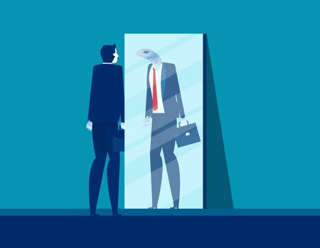Businessman with mirror reflect yourself. Concept business vision vector illustration, Fraud and Duplicity
