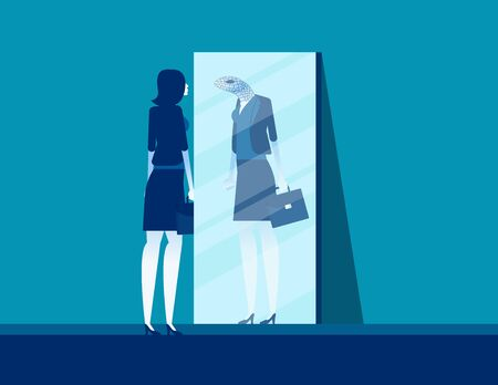 Businesswoman with mirror reflect yourself. Concept business vision vector illustration, Fraud and Duplicity