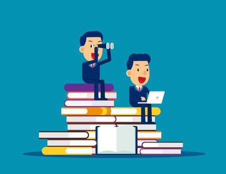 Searching and Learning. Concept business analysis vector illustration, Kid business, Flat cartoon style design.