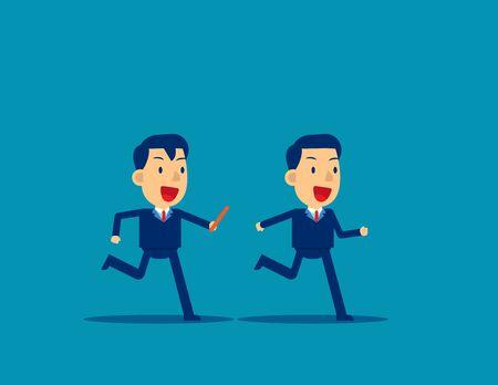 Stabübergabe an Kollegen im Staffellauf. Business Office Teamwork-Konzept, niedliche flache Cartoon-Charakter-Stil