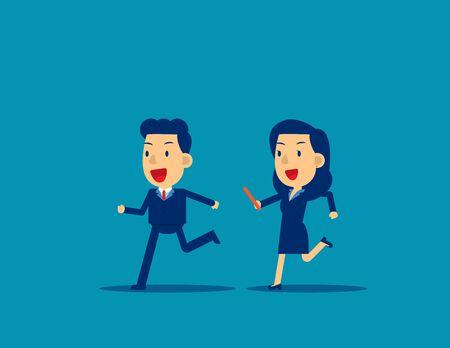 Pasando el testigo a un colega en carrera de relevos. Concepto de trabajo en equipo de oficina de negocios, diseño de estilo de personaje de dibujos animados plano lindo. Ilustración de vector