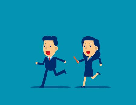 Passing baton to colleague in relay race. Business office teamwork concept, Cute flat cartoon character style design. Иллюстрация