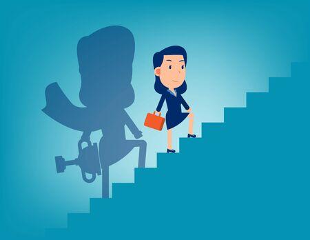 Líder y escalera al éxito. Concepto de negocio exitoso, diseño de vector de dibujos animados Flat Kid.
