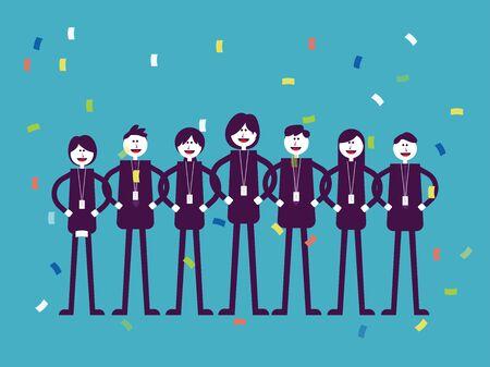 Colegas oficinista profesional. Concepto de trabajo en equipo de negocios, diseño de estilo de ilustración de vector de dibujos animados plana.