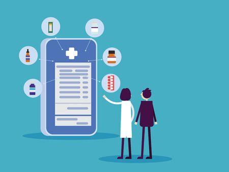 Online prescription, Healthcare technology concept, Medicine cartoon character vector design