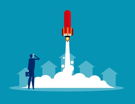 Businessman launches rocket. Concept business startup vector illustration, Successful, Achievement.