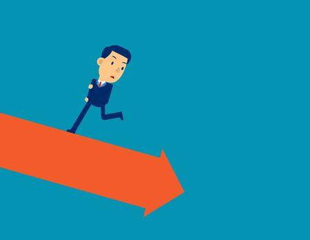 Run away from falling graph. Business financial crisis concept, Cute cartoon vector illustration
