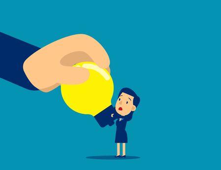 Big hand stealing idea light bulb. Steal idea concept, Cute flat cartoon vector illustration Ilustração Vetorial