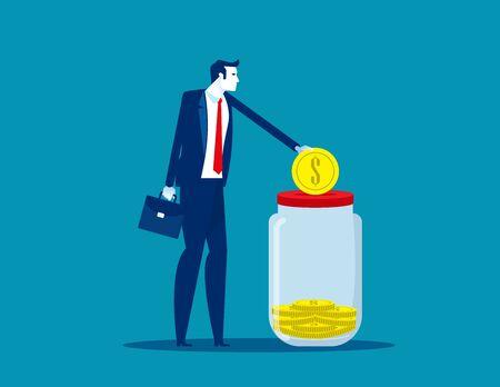 Businessman saving money. Concept business financial vector illustration, Assistance, Deposit, Donate