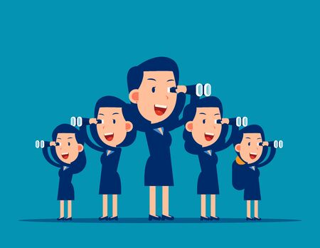 Team searching for success. Business vision concept. Flat business cartoon vector illustration style