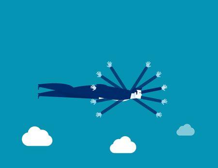 Los negocios vuelan como un pájaro. Ilustración de vector de transformación de negocio de concepto