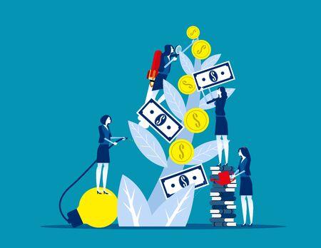 Ingresos, creciendo y ganando dinero. Ilustración de vector financiero de negocio de concepto, cuidado de un riego de árboles Ilustración de vector