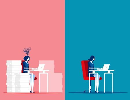 Business woman with Easy and Stressful work. Concept business working vector illustration, Different working people