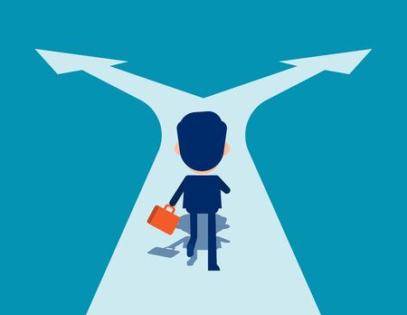 Man running on crossroads. Choice and Direction concept. Cute business cartoon in vector design.