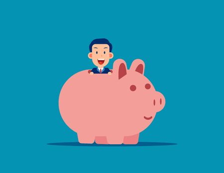 Cute business man with Piggy bank. Business financial concept. Vector illustration in cartoon style