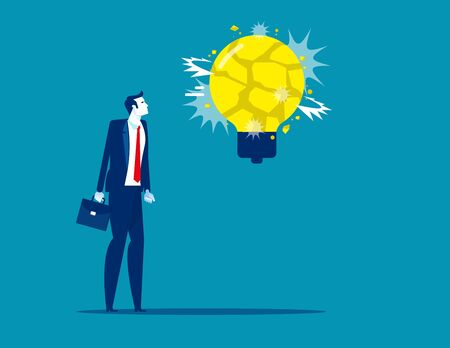 Business man with big light bulb explosive. Concept business idea vector illustration. Frightened