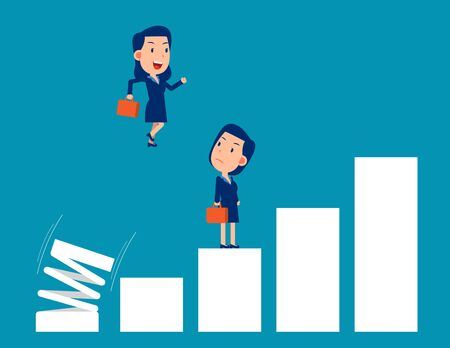 Business growth. Jumping on spring spiral concept. Business cartoon people Illustration