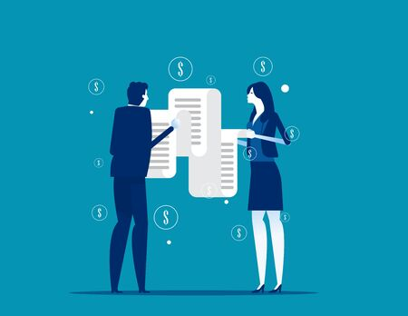 People looking long paper bills. Concept business money bill vector illustration, Debt or Tax