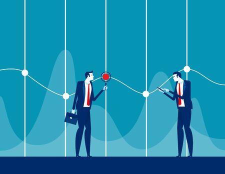 Analysis detail statistics. Concept business teamwork vector illustration. Marketing, Information.